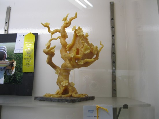 In the Horticulture/Agriculture Building: a tree house carved from beeswax